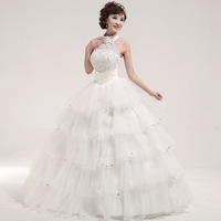 Love 2013 sweet princess halter-neck wedding dress lace beaded fluffy wedding dress