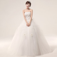 2013 sweet princess wedding dress handmade flower tube top paillette rhinestone wedding dress