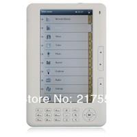 Free Shipping 7 inch E-Book Reader RK2729 4GB Built in FM radio Support mp3 format ring/TXT, PDB, RTF, EPUB, FB