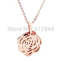Camellia necklace chain titanium 14k rose gold short design accessories star style girls