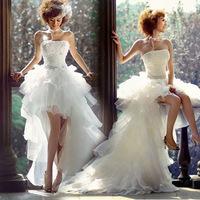 Low-high the bride train wedding dress formal dress royal princess short quality design wedding dress new arrival