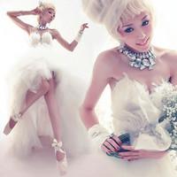 Fashion bride low-high feather train wedding dress 2012 winter maternity wedding dress