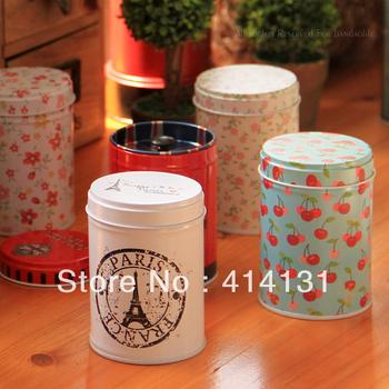 Beautiful double layer tea caddy querysystem belt zakka storage tin toothpick jar box free shipping