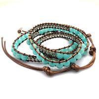 2014 6mm Amazoniote jade bead wrap bracelet new design handmade wrap immitation leather bracelet