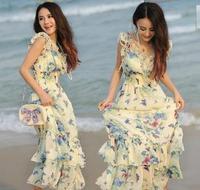Big lotus leaf design laciness slim elastic waist chiffon one-piece dress bohemia beach dress