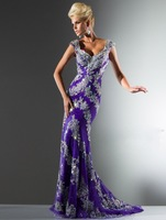 2013 New Purple TonyBowls Cap sleeve Applique Beaded Evening gowns Prom dress GH-82921