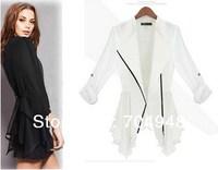 Free Shipping Europe Summer Chiffon Long Zipper Shirt  Blazer Suit Female Long-sleeved Jacket Plus SizeWhite/Black