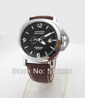 Free Shipping,New 2014 Hot Sale Airforce Military Style Men's Automatic Mechanical Wrist Watch,Brown Leather Strap,