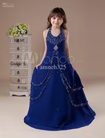 Gorgeous Sapphire Blue Chiffon Floor Length Girls Pageant Dress