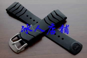 Watch accessories 22mm black silica gel watchband rubber watch band tape