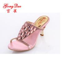 New 2014 hot-selling rhinestone female sandals high-heeled slippers rhinestone genuine leather slippers crystal slippers