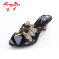 new 2014 summer women sandals flower rhinestone sandals genuine leather high-heeled shoes female slippers, free shippintg