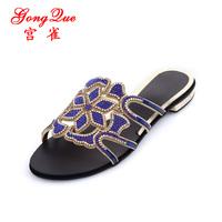 free shipping New 2014 hot-selling fashion bohemia flower rhinestone slippers flats genuine leather women's rhinestone sandals