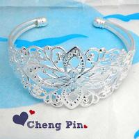 Ship Free ! 20pc/lot silver tone oval flower FILIGREE DESIGN BRACELET BANGLE BASE BLANK