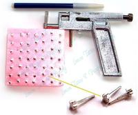 Free Shipping Professional Steel Ear Nose Navel Body Piercing Gun 98pcs Studs Tool Kit Set