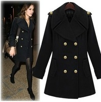 PLUS SIZE ! FREE SHIPPING 2014 new fashion double-breasted women's coats winter solid color warm long wool coat  c094