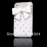 Handmade Amazing 3D White Silver Bow bowknot shinning Diamond crystal rhinestone Hard Case Cover skin For Apple iPhone 3G S 3GS