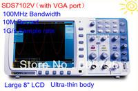 "New thin OWON 100Mhz Oscilloscope SDS7102V 1G/s large 8"" LCD LAN+VGA+bag 3 yrs warranty"