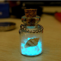 Free Shipping Glowing Wishing Bottle Solar Power Lucky Star Sand Wishing Bottle Mobile Phone Pendant Birthday Gift Novelty Gift