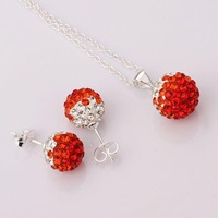 925 silver 10mm Ball Czech rhinestone Necklace Earrings Silver Jewelry Sets red Gradual Color shamballa set