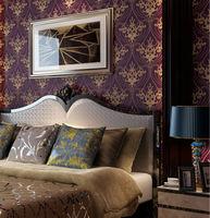Luxury  Victorian Vintage Golden Damask on Purple Wallpaper Bedroom Wallpaper Wall Covering