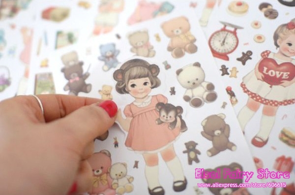 Wholesale Lovely Doll Decoration Sticker PLASTIC Dairy Sticker 6 sheets/pack 20packs/lot Free shipping(Hong Kong)