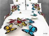 cotton bed linen blue red butterfly prints 3D bedding set cheap home textile discount quilt/duvet cover for Queen/Full comforter