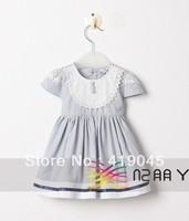 Free Shipping100%Cotton Baby Girls Ruffle Pink Blue Dress O-Neck With White Lace Neck 6pcs/lot TUTU Princess  Dress-1197