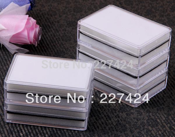 "Free Shipping Wholesale 10pcs Earrings Studs Plastic Display Case Box Showcase Tray 3.3x2.4"" #90132(China (Mainland))"
