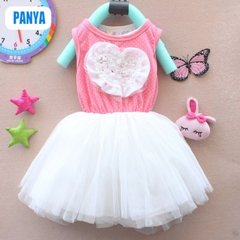 PANYA STT131 2013 summer new kids dress tutu baby girl dress flower Princess white vest lace heart dressess free shipping