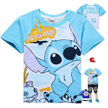 2013 Popular Light Blue Cartoon T-shirt Boys and Girls Short-sleeves 100% Cotton T-shirt 6pcs/lot CN Air Mail Fast Free Shipping