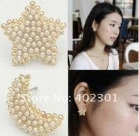 24pairs Free Shipping Fashion Pearl Moon Earrings Star Earring Ear Nail Cute earring
