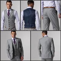Side Slit Two Buttons Light Grey Groom Tuxedos Best Man Notch Lapel Groomsmen Men Wedding Suits Bridegroom (Jacket+Pants+Tie+Ves
