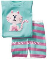 модно! Детская 100% хлопок с коротким рукавом мультфильм дизайн пижамы пижамы хлопка с печатной кошку 6 комплектов / серия (6 размеров)