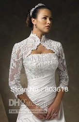 Custom Made Lace Sleeve Jackets For Wedding Day Evening Party Dresses Long Sleeve Bolero Jackets(China (Mainland))