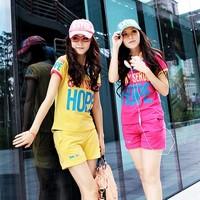 Formal women's 2013 summer cotton casual letter short-sleeve slim sports shorts set