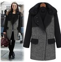 2014 new fashion big cony fur collar long sleeve turn down collar women's coats winter warm Medium style coat  T104