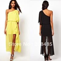 Women's love elegant dress casual ,high quality one shoulder dresses ruffle, 2013 fasion yellow and black high low Dress women