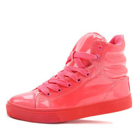 2013 New Arrival Women and Men ' fashion high top shoes, fluorescent candy colore patent leather sports shoes