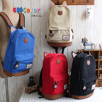 Preppy style canvas casual backpack student school bag