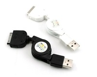 Free Shipping 5 pcs/lot portable SYNC USB retractable data cable cord for Apple iphone3GS 4/4S ipod touch nano
