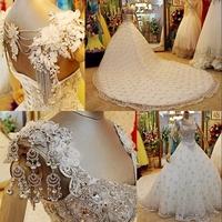 Dmr033 Dreamaker Elegant Strap Lace Up Back Long Train Fully Crystal Beaded Wedding Dresses