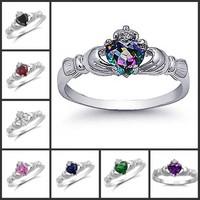 Size 5/6/7/8/9/10 Claddagh Jewelry Heart Stone 10KT Gold Filled Sapphire/Garnet/Emerald/Amethyst Gem Ring for Women
