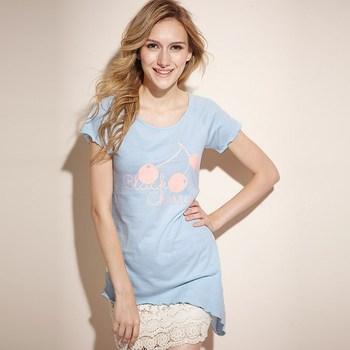 2013 New VANCL Women T-shirt Cotton Blend Black Cherry Asymmetric Tee Short Sleeve O-Neck White/Stone Blue FREE SHIPPING