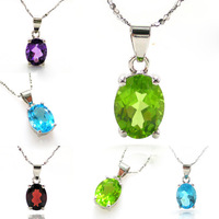 Wholesale Fashion Lady Summer Hot Natural Amethyst Garnet Peridot Blue Topaz Necklaces Pendant Set 925 Sterling Silver 8x6mm