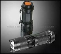 Excellent 3-mode SK68 Mini Retractable Bright Cree Q5 LED Flashlight / Torch with Metal clip(Black)