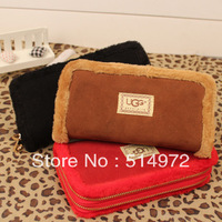 Best Selling!!2013 new stylish ladies fur side double zipper long design wallet women clutch wallets Free Shipping