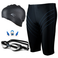 mens swimming trunks male boxer shorts    plating goggles drop  cap nose clip heatshrinked   swimwear sports suits beach pants