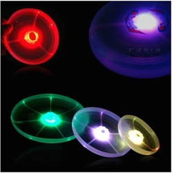 Free shipping 6pcs Hot Colorful Spin LED Light Outdoor Toy Flying Saucer Disc Frisbee UFO Kid Toy(China (Mainland))