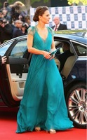 kate middleton in jenny packham summer green everning dress with cap Sleeves DF-456